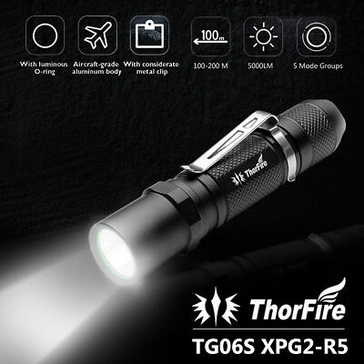 ThorFire TG06S 500LM 5 Modes LED EDC Tactical Flashlight Torch Cap Light Strobe