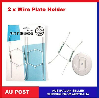 2 x Wire Plate Hangers Holder Wall Display Spring in white for Normal Plate size