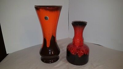 Canadiana Canada Pottery 2 Vases Planters Orange and Red Drip