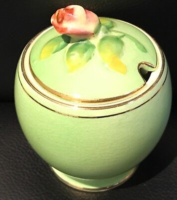 "Royal Winton, England C1950 ""Rosebud"" (Green) Jam Pot With Lid Excellent"