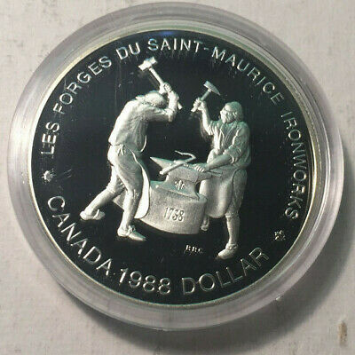 1988 Canada Silver Proof Dollar Coin, BU UNC