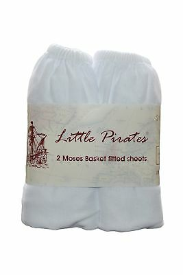 2 x Baby Pram/Crib/ Moses Basket Jersey Fitted Sheet 100% Cotton White 30x75cm