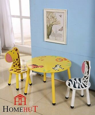 Kids Wooden Table and Chairs Set - Childrens Toddler Animal Jungle Themed Gift