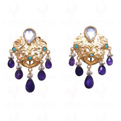 Pearl, Amethyst & Turquoise Studded Earrings In 925 Sterling Silver Se041005