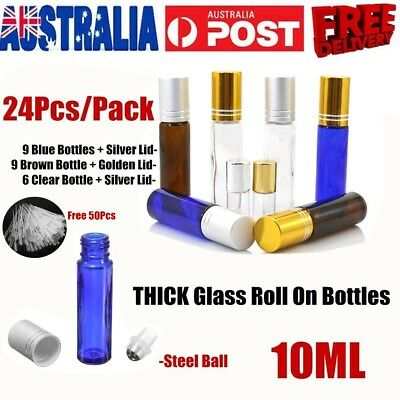 10ml THICK Glass Roll On Bottles Big Steel Roller Bottle Essential Oil Metal Lid