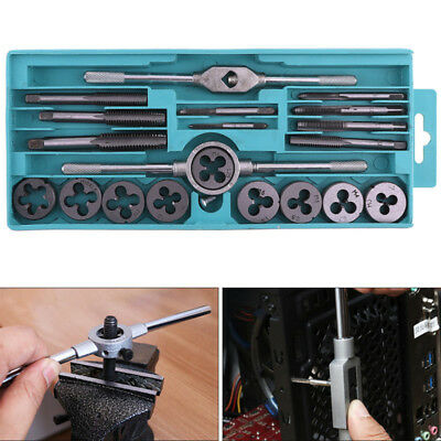 20Pcs Metric Tap Wrench and Die Pro Set M3-M12 Nut Bolt Metal Tools+Storage Case
