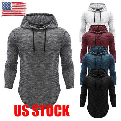 US Mens PULLOVER HOODIE Shirts Hooded Tee Sweatshirt Heavy Casual Muscle Fashion