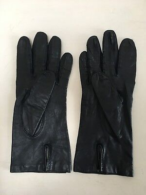 DENTS Vintage soft black leather with pure silk lining ladies gloves size 7-7.5