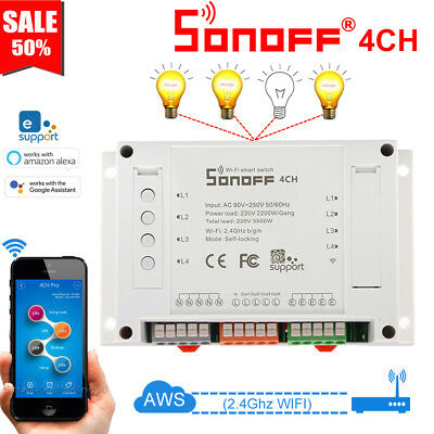 Sonoff 4CH / 4CH Pro R2 Channel Remote Smart WiFI Switch Home Automation Timer