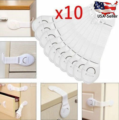 10pcs Door Drawer CabInet Safety Locks Children Baby Infant Kids Cupboard Locks