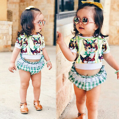 2018 Toddler Kids Baby Girls Outfits Clothes T-shirt Tops+Shorts Pants 2PCS Set