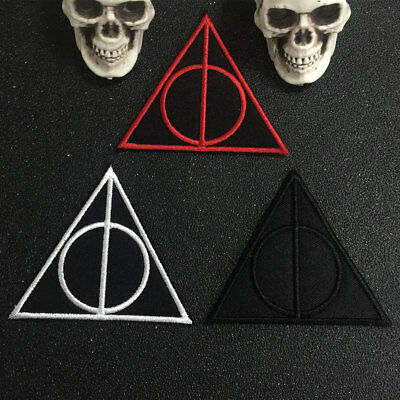 HARRY POTTER DEATHLY HALLOWS Iron On Patch Embroidery Applique Sewing Label