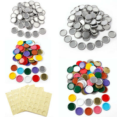 50/100 pcs Flat Chrome Bottle Caps and Epoxy Domes Stickers Dots Crafting DIY
