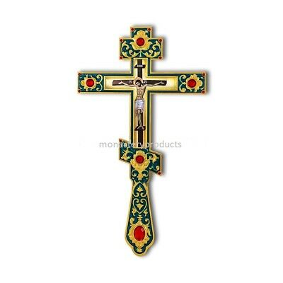 Russian Style 3 Bar Orthodox Blessing Hand Cross Old Slavonic Church 10""