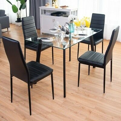 f5c863b817539 5 Pcs Dining Set Tempered Glass Top Iron Table 4 Black Leather Chairs Modern