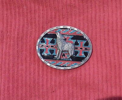 Belt Buckle Indian Wolf Howling Heavy Made in USA Vintage