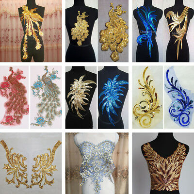 Sequin Lace Appliques Trim Dance Wedding Bridal Embroidery Sewing DIY Crafts