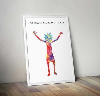 Rick and morty inspired poster print wall art gift merchandise pickle rick