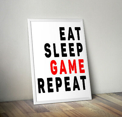 Eat sleep game, print, poster, gamer, quote, wall art, gift, gaming decor, home