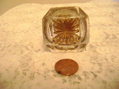"""Antique 1800's 1.5"""" Square GLASS KNOB w/Convex Brass Base drawer/cabinet pull"""