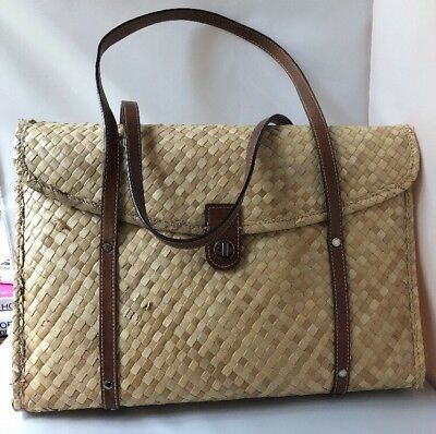421ff72c64f Kate Spade Vintage Woven Bamboo straw wicker bag shopper tote leather  straps 90s