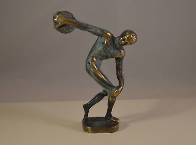 Vintage Discobol solid brass athlete,ancient greek style statue, blue patina