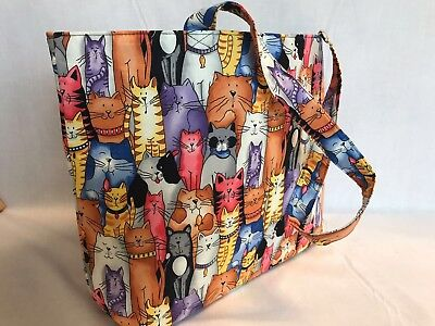 Luxury Knitting Bag Shopping Bag Craft Gift Hobby Sewing Yarn - Colourful Cats