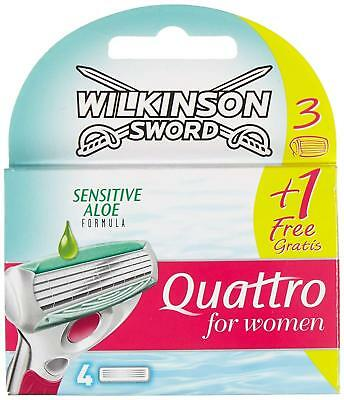 Wilkinson Sword Quattro for Women Sensitive Rasierklingen, 3 plus 1 Klinge grati