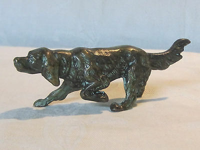 Vintage cast bronze setter or retriever dog figurine