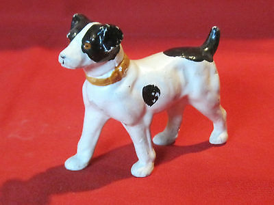 Vintage painted porcelain pottery smooth hair Fox Terrier dog