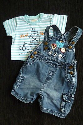 Baby clothes BOY 3-6m outfit denim short dungarees/stripe t-shirt ship SEE SHOP!