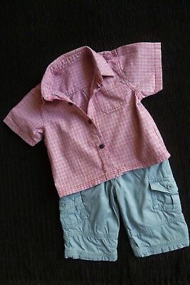 Baby clothes BOY 3-6m outfit lined trousers/short sleeves cotton shirt SEE SHOP!