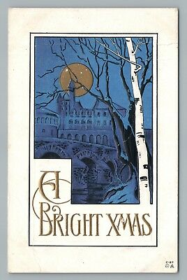 """Bright Xmas"" Beautiful Arts & Crafts Antique Christmas PC Moon—Castle 1914"