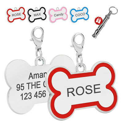 Personalized Dog Tags Cute Bone Shape Cat Puppy Pet ID Name Collar Tag Engraved