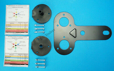 Twin Socket Mounting Plate with Gasket Seals for 7 Pin 12N & 12S - Caravan