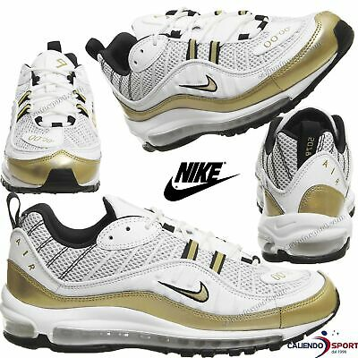 purchase cheap 63807 03acc Nike Air Max 98 UK AJ6302-100 GOLD WHITE SHOES for MAN and WOMAN COLLECTION