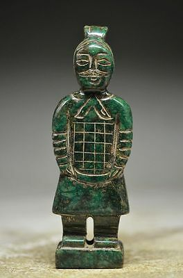 Excellent Chinese old jade Hand Carved Ancient soldiers Statue kd2