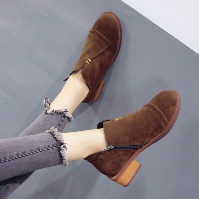 WOmen/'s Suede Leather Round toe Chunky Block Heels Pull On Ankle Boots Shoes sz