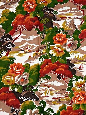 Lge Piece Vintage 50S Novelty Boat Lake Floral Print Fabric Material 6M + Unused