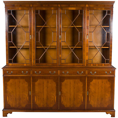 Antique Style Vintage Large Four Door Yew Bookcase Display Cabinet Breakfront FS