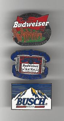 BUDWEISER & BUSCH Beer Hat / Lapel Pin Lot of 3
