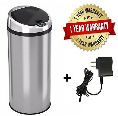 Automatic Touch-free Sensor Stainless Steel Trash Can13 Gallon Kitchen