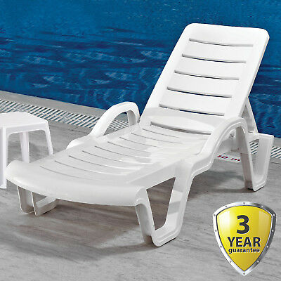Surprising Sun Lounger Outdoor Garden Patio White Plastic Wipe Clean Evergreenethics Interior Chair Design Evergreenethicsorg