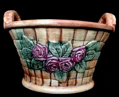 Antique Weller Art Pottery Matte Gold Woodcraft Basket Planter Bowl