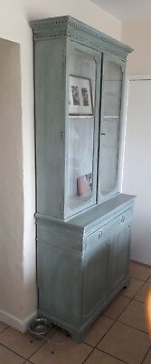 A Fab Early 20Th Century Painted Glazed Kitchen Dresser/bookcase