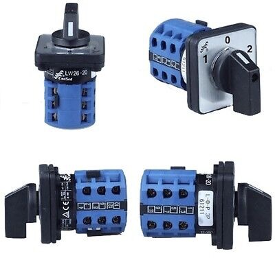 Rotary Cam Switch 20A/32A, 3 pole, 3 Position '1-0-2' 690VAC 240VDC (180g/280g)