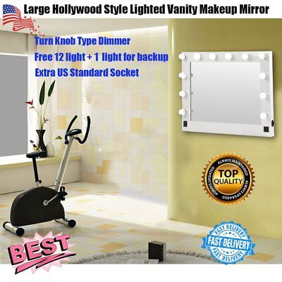 Chende White Hollywood Makeup Vanity Mirror w/ Light Stage Large Beauty Mirror K