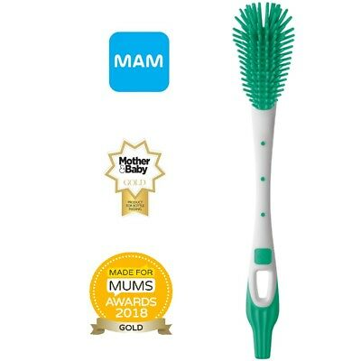 Baby Milk Bottle and Teat Brush Easy Soft Clean Mam Green