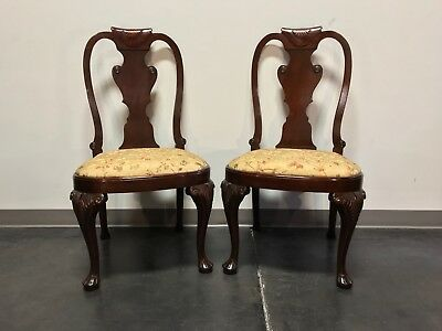 Carved Mahogany Queen Anne Style Dining Side Chairs - Pair