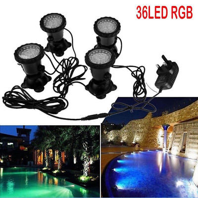 4PCS 36LED Underwater Spot Light for Aquarium Fish Tank Garden Pond Pool UK Plug